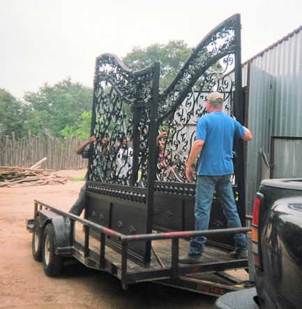 custom iron entrance gates - weaver creative - evans weaver